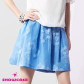 【SHOWCASE】條紋蕾絲花立體褶紗裙(藍)
