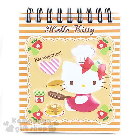 〔小禮堂〕Hello Kitty 線圈立體筆記本《橘白橫條.迷你.坐姿.廚師.蘋果》 4718598-77905