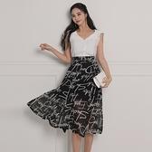 無袖洋裝小禮服 2021夏季韓版女神範v領無袖修身開衫襯衣高腰雪紡印花大擺裙套裝
