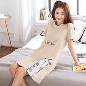 短袖睡裙女士秋冬可外穿韓版清新學生性感女款中長款睡衣夏天