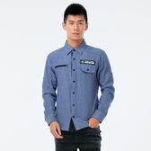 BigTrain 仿牛仔細條紋襯衫-男-藍底白條-B1007855(領劵再折)