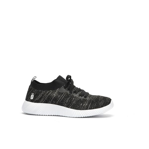 ORWARE-素面飛線針織綁帶休閒鞋652112-02黑