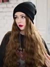 毛線帽子帶假髮一體女