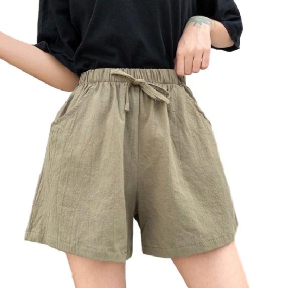 EASON SHOP(GW5934)實拍百搭款純色棉麻鬆緊腰抽繩綁帶收腰休閒褲女高腰短褲顯瘦直筒褲寬褲熱褲綠黑