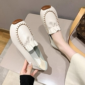 豆豆鞋 豆豆鞋女2021年春季新款韓版百搭軟底一腳蹬孕婦鞋復古原宿風單鞋 童趣屋 618狂歡