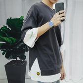 夏季短袖T恤男韓版寬鬆五分袖小衫中袖青年學生半袖七分袖大碼潮  野外之家