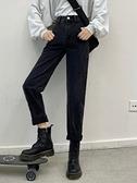 老爹褲 秋冬2021年新款高腰百搭直筒褲顯瘦黑色牛仔褲老爹褲寬鬆哈倫褲女 歐歐