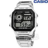 CASIO / AE-1200WHD-1A / 卡西歐 復古方形 計時碼錶 防水100米 世界時間 不鏽鋼手錶 灰黑色 40mm