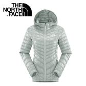 【The North Face 女 ThermoBall 暖魔球 保暖兜帽外套 灰白】CUD4/★滿額送