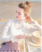 新款女半高領超仙網紗上衣秋冬洋氣小衫內搭打底衫雪紡蕾絲衫 韓國時尚週