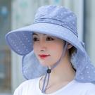 遮陽帽 帽子遮陽帽全臉女夏天遮臉紫外線采茶防曬帽騎車干農活大沿太陽帽 夢藝家
