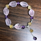『晶鑽水晶』天然粉晶+黃水晶+紫水晶 純銀手鍊 約11mm 不規則型 招桃花 人際關係 招財 附禮盒