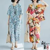 加肥微文藝大尺碼女拼接印花七分哈倫褲兩件時尚套 超值價