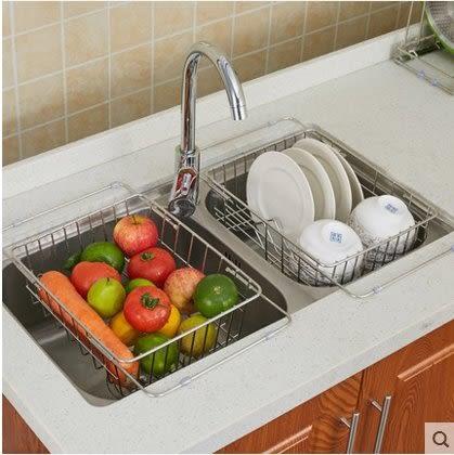 博碩304不鏽鋼瀝水架水槽可伸縮碗架瀝水籃水池碗碟架廚房置物架