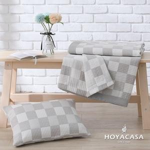HOYACASA 純棉三層紗親膚透涼被-灰白格(單人150x200)