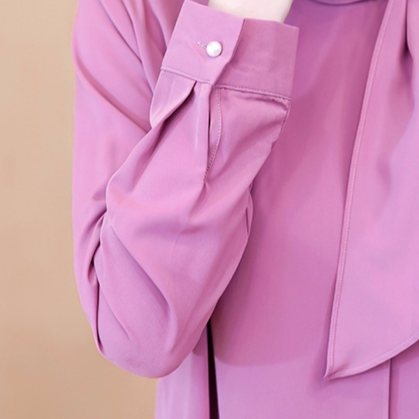 限時特購 飄帶領口系帶蝴蝶結女士長袖雪紡職業白襯衫女洋氣OL通勤氣質上衣
