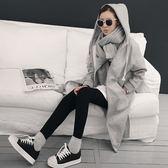 梨卡 - 秋冬氣質甜美慵懶感寬鬆棉質加絨中長版夾克風衣大衣連帽外套BR153
