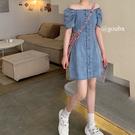 牛仔洋裝 裙子女裝夏天收腰顯瘦氣質牛仔裙小心機復古方領連身裙-Ballet朵朵