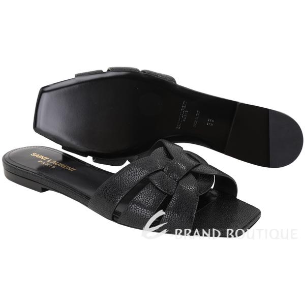 YSL Saint Laurent TRIBUTE 編織結飾平底涼拖鞋(黑色) 1920598-01
