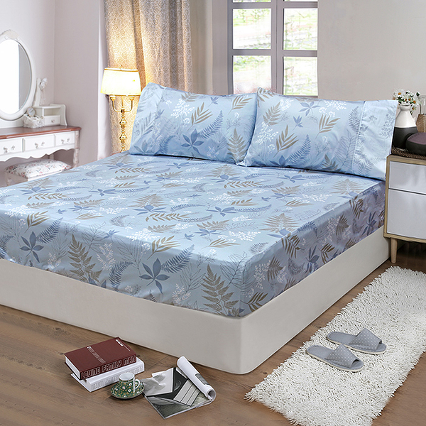 【FITNESS】精梳棉單人床包枕套二件組-里葉亭(藍)_TRP多利寶