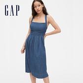 Gap女裝時尚水洗方領吊帶洋裝574098-中度水洗
