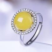 戒指 925純銀 琥珀-簡約百搭生日情人節禮物女開口戒73ga12【時尚巴黎】
