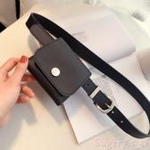 新品皮帶時尚百搭時髦人造革腰包裝飾黑色牛仔褲學生皮帶女ins風針扣腰帶