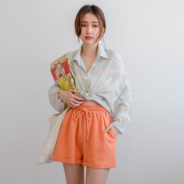 MIUSTAR 大口袋鬆緊抽繩反摺棉質短褲(共7色)【NJ1028】預購