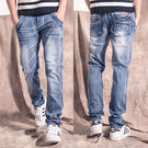 美式質感鐵牌造型牛仔褲