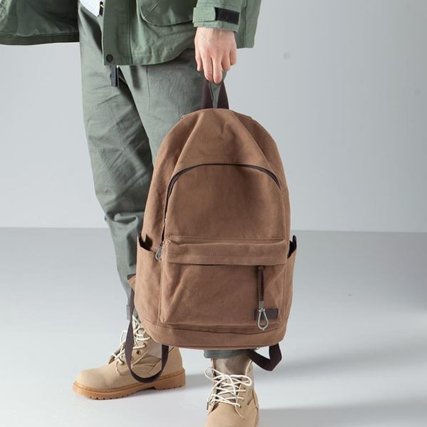 後背包 棉質新款雙肩包男休閒簡約帆布包背包旅行包學生書包男時尚潮流 麻吉部落