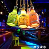 歐式創意酒吧吧台吊燈店鋪ktv餐廳個性單頭復古酒瓶單頭裝飾燈具 igo摩可美家