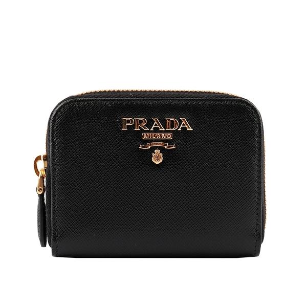 【PRADA】浮雕Logo 防刮皮革零錢包(黑色) 1MM268 QWA F0002