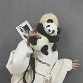 小包包女新款潮韓版同款百搭熊貓側背可愛卡通毛絨素色包