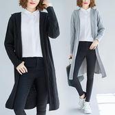 慵懶風新款秋冬胖MM連帽加厚針織開衫中長款長袖寬鬆外套女