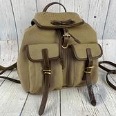 BRAND楓月 PRADA 普拉達 1BZ006 米色後背包 大LOGO印花 束口袋背包 帆布 雙背包 肩背包