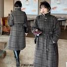 (現貨+預購 FUWAFUWA)-中大尺碼復古格紋毛呢外套