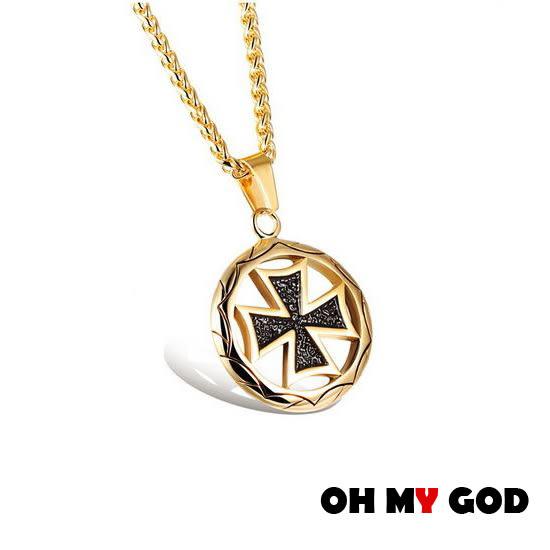 OH MY GOD圓圈十字架鈦鋼項鍊