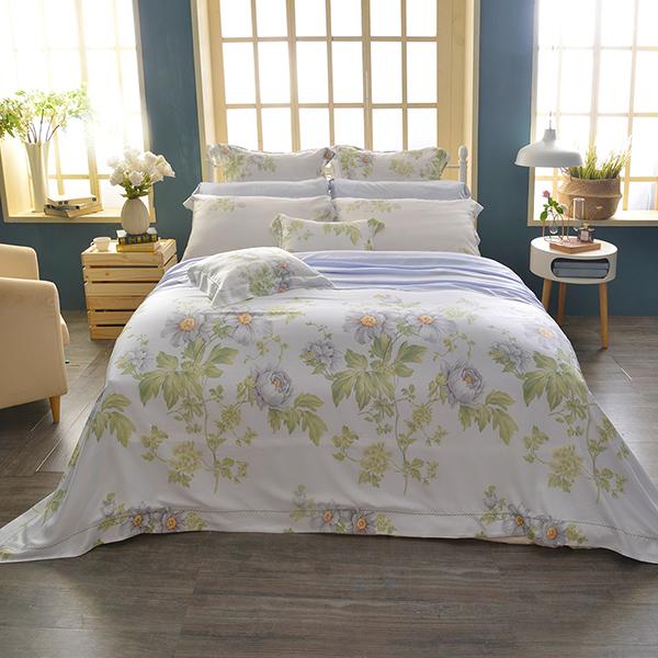 法國CASA BELLE《伊蕾娜》雙人天絲刺繡四件式防蹣抗菌吸濕排汗兩用被床包組