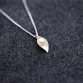 【雙十二】預熱日韓系小清新簡約s925純銀鎖骨項鏈女學生氣質葉子珍珠項鏈套鏈     巴黎街頭