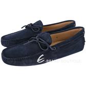 TOD'S Gommino 麂皮綁帶休閒豆豆鞋(男鞋/深藍色) 1240500-34