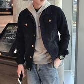 男牛仔外套 秋季水洗黑色潮流帥氣夾克