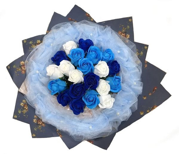娃娃屋樂園~(精緻)21朵玫瑰香皂花束(網紗款) 每束1200元/情人節花束/情人節禮物