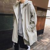 韓版男士薄款風衣學生中長款外套bf原宿風寬鬆秋裝潮 初語生活館