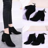 中跟磨砂短靴女秋冬季新款踝靴馬丁靴女英倫風粗跟高跟鞋子    韓小姐