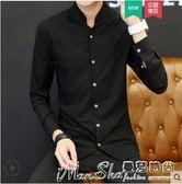 長袖襯衫男秋季新款中國風男裝個性立領唐裝潮流休閒青年上衣 曼莎時尚