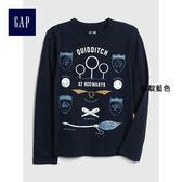 Gap男童 Gap x WB系列 哈利波特主題長袖T恤 370728-純靛藍色
