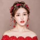 結婚紅色婚紗髮飾