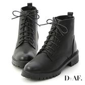 D+AF 街頭潮流.仿舊感擦色綁帶軍風短靴*黑
