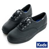 KEDS -TRIPLE 經典皮革厚底休閒鞋-黑