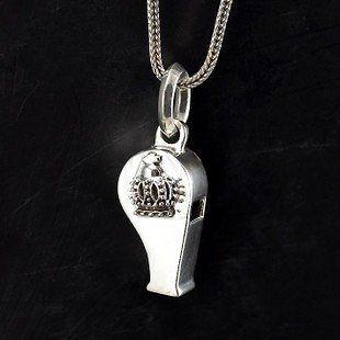 銀骷髏/皇冠銀哨男款項鏈 銀潮流個性時尚